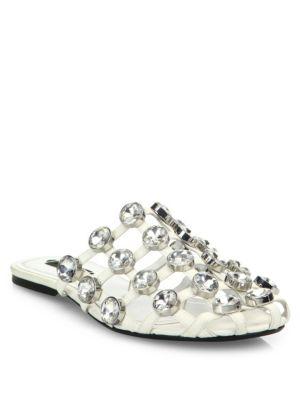 'Amelia' glass crystal caged leather slide sandals
