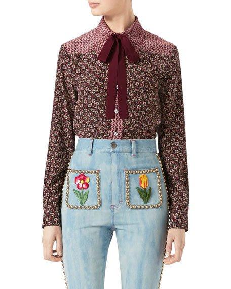 GUCCI Autumn Flower Printed Silk Shirt, Maroon, Multi Pattern