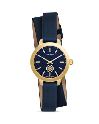 Collins Goldtone Stainless Steel & Leather Double-Wrap Strap Watch/Navy