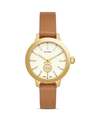 COLLINS DOUBLE WRAP LEATHER STRAP WATCH, 38MM