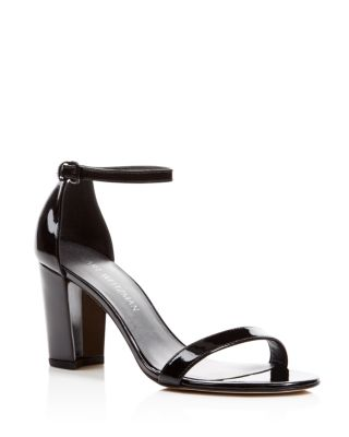 NEARLYNUDE PATENT LEATHER ANKLE STRAP SANDALS