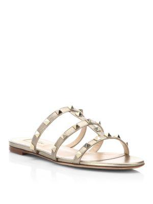 'Rockstud' caged calfskin leather slide sandals
