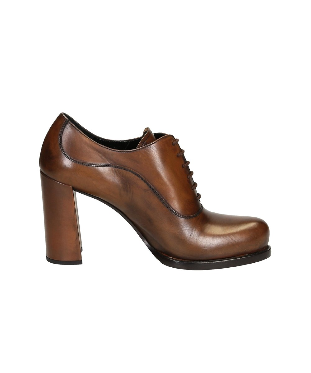 PRADA WOMEN'S  BROWN LEATHER ANKLE BOOTS