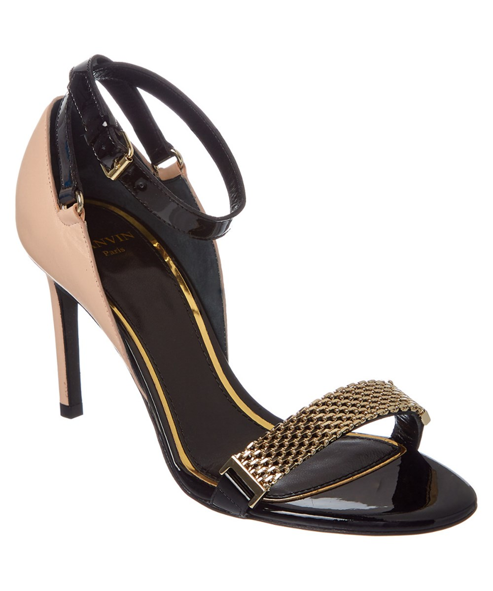 LANVIN LEATHER CHAIN STRAP HEELED SANDAL