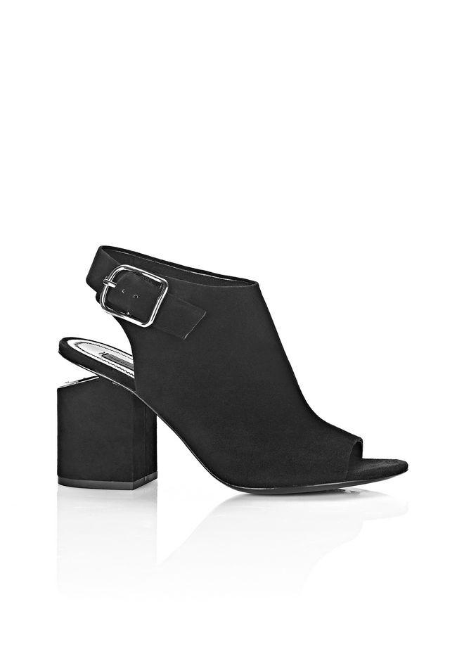 ALEXANDER WANG 'Nadia' Cutout Heel Suede Sandal Booties in Black