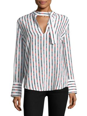 WOMAN JANELLE STRIPED WASHED-SILK BLOUSE WHITE
