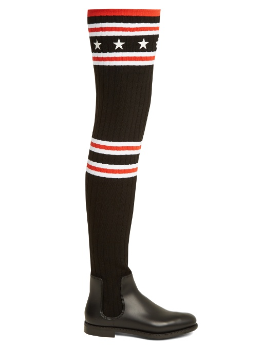 Givenchy 30mm Knit Amp Rubber Over The Knee Boots Black Red