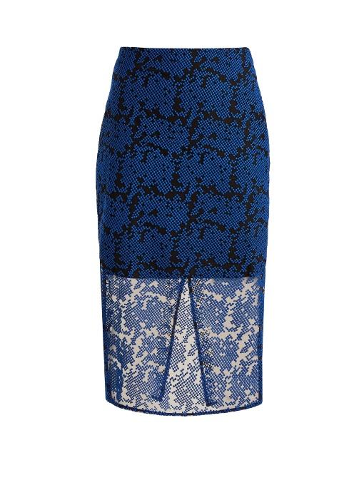 DIANE VON FURSTENBERG Geometric-Embroidered Tulle Pencil Skirt in Klein Blue/Black