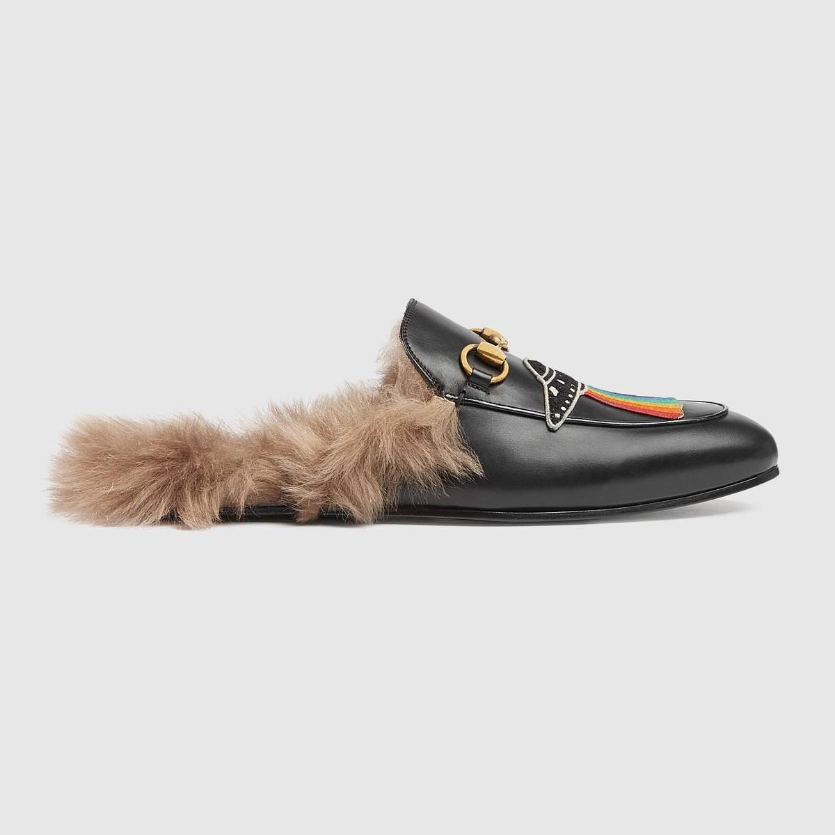 Gucci Leathers Princetown Leather Slipper With Appliqués - Black Leather