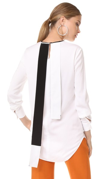 bicolour detail blouse