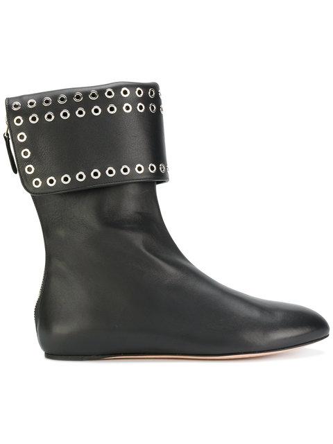 eyelet embellished boots