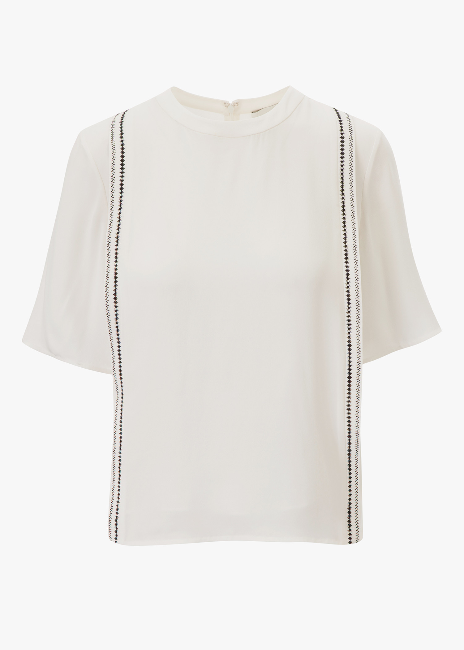 S/S Embroidered Silk Top