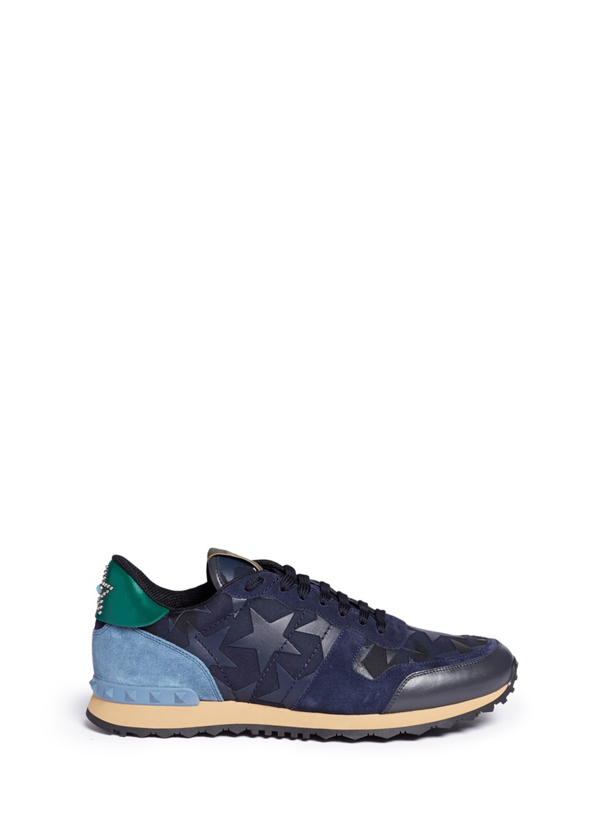 Valentino Suedes 'Camustars Rockrunner' leather patch sneakers