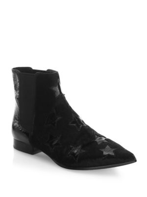WOMEN'S BLISS CALF HAIR & PATENT LEATHER CHELSEA BOOTIES