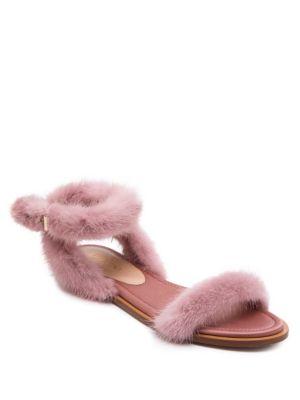 Mink Fur Ankle-Strap Sandals