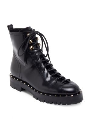 SOUL ROCKSTUD TREK-SOLE LEATHER ANKLE BOOTS