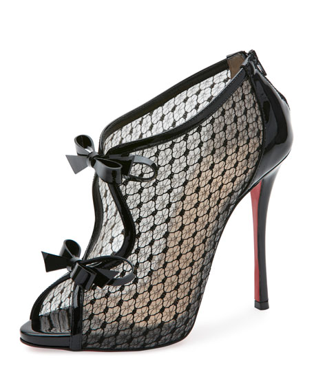 Christian Louboutin Leathers EMPIREALTA LACE 120MM RED SOLE BOOTIE, BLACK