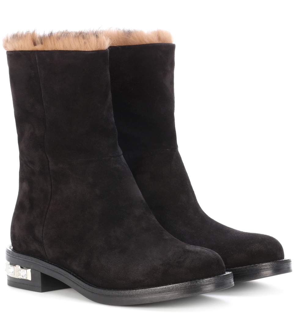 FUR-LINED SUEDE BOOTS
