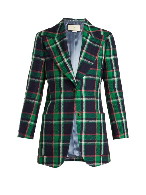 Checked tiger-appliqué wool jacket