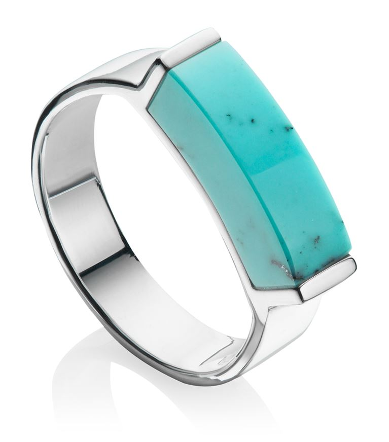 Monica Vinader Rings Linear Turquoise Stone Ring