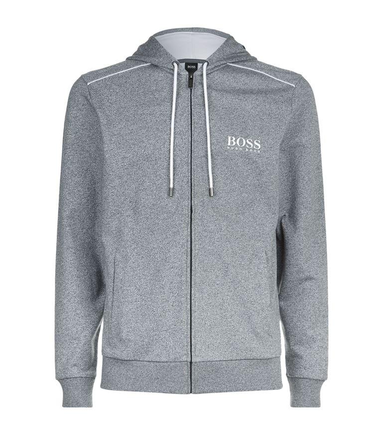 Hugo Boss Cottons Zip Down Logo Motif Hoodie