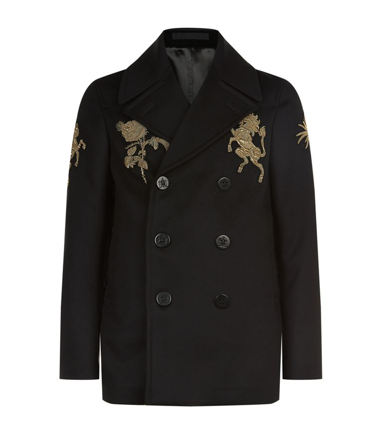 Alexander Mcqueen Wools Embroidered Double-Breasted Wool Coat