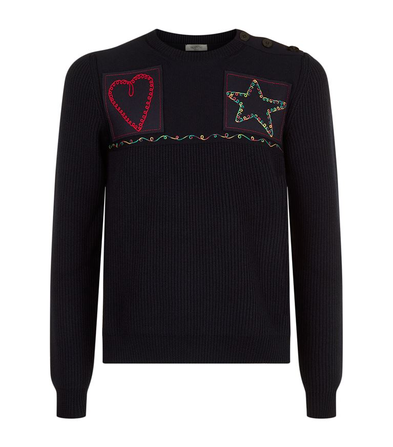 Valentino Knits Embroidered Patch Wool Sweater