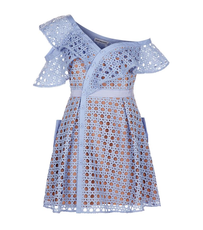 Self-Portrait Cottons Guipure Lace Frill Mini Dress