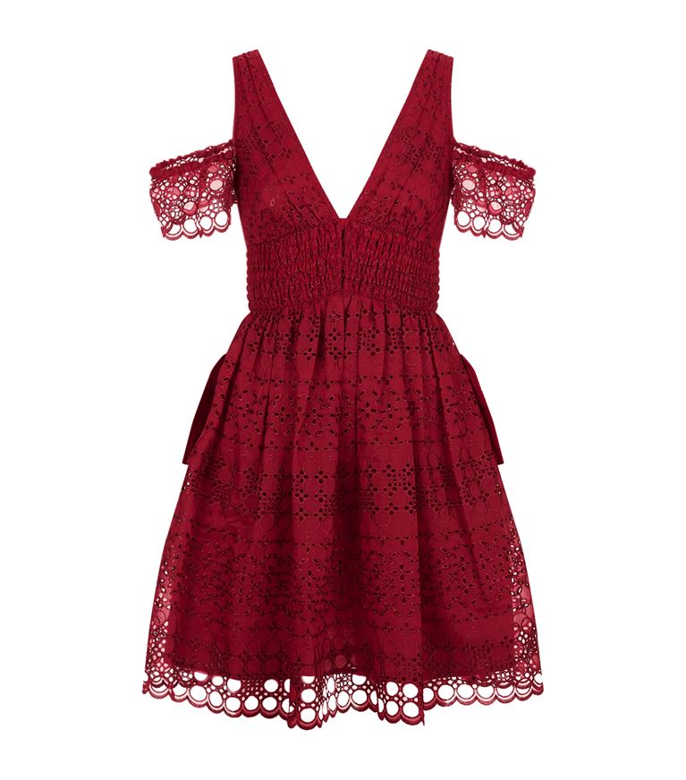Self-Portrait Cottons Broderie Cold Shoulder Mini Dress