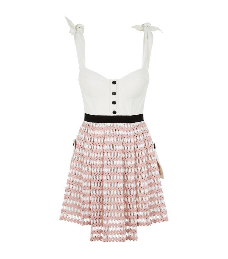 Self-Portrait Cottons Corset Crochet Mini Dress