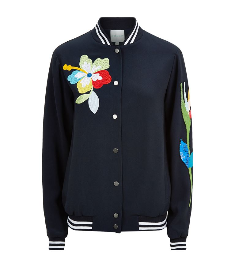Mira Mikati Sequined Parrot Bomber Jacket