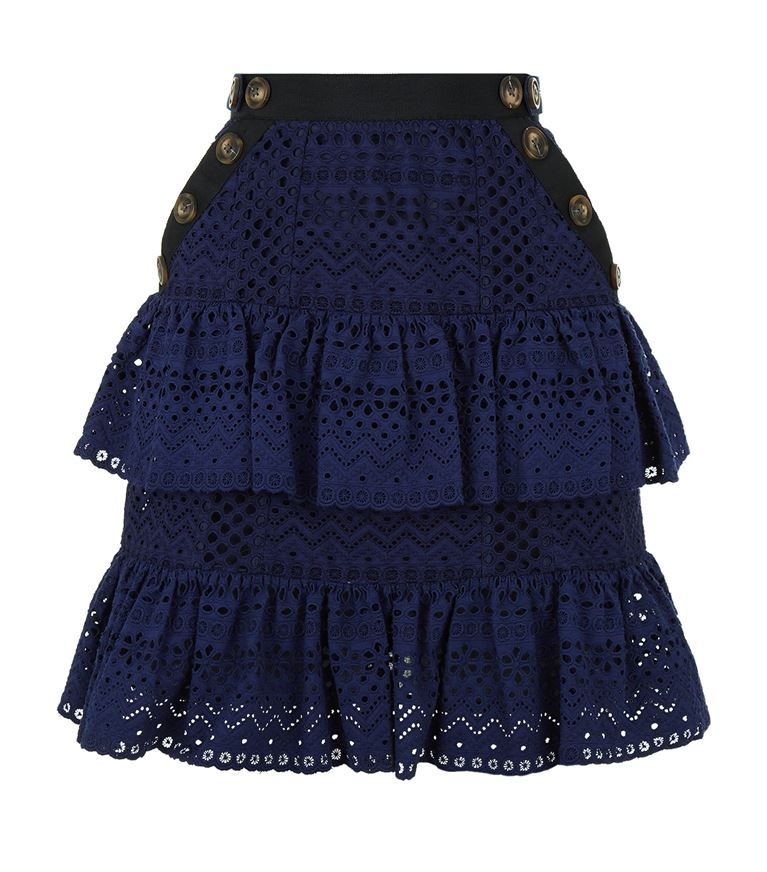 Self-Portrait Cottons Broderie Ruffle Tiered Mini Skirt