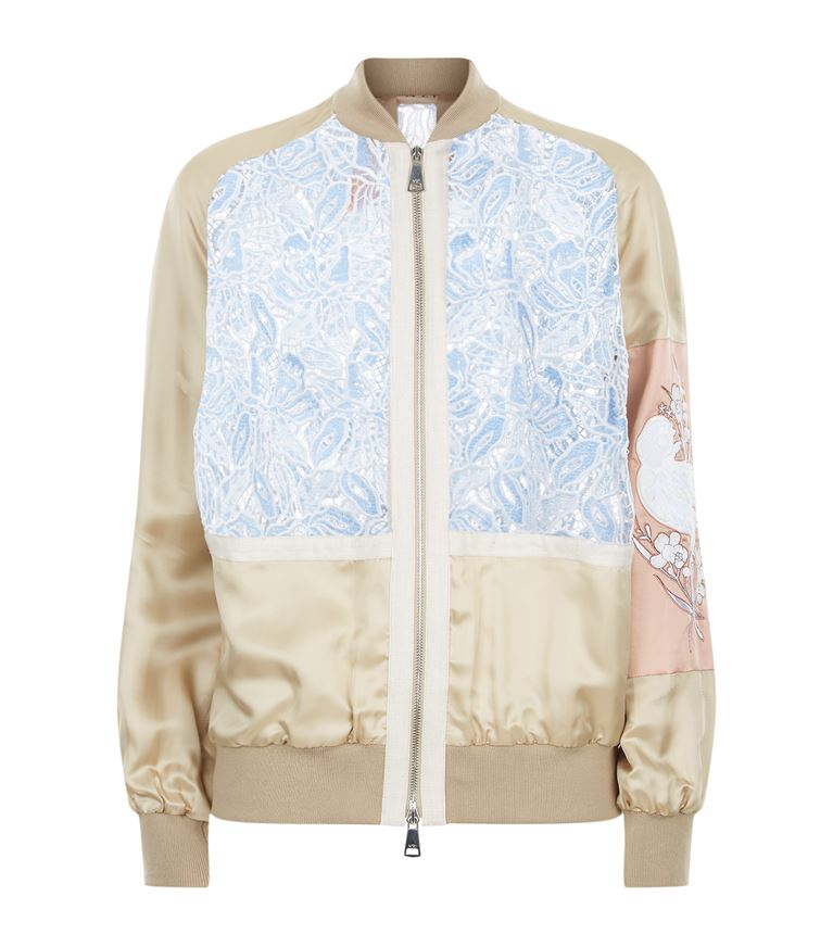 Beige Viscose Bomber Jacket With Contrasting Lace And Embroidery