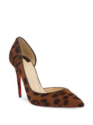 Classique Iriza 100 Leopard-Print Calf Hair d'Orsay Pumps