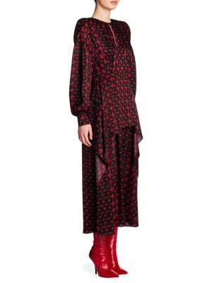 PRINTED SILK DRESS WITH ASYMMETRIC LAYERS