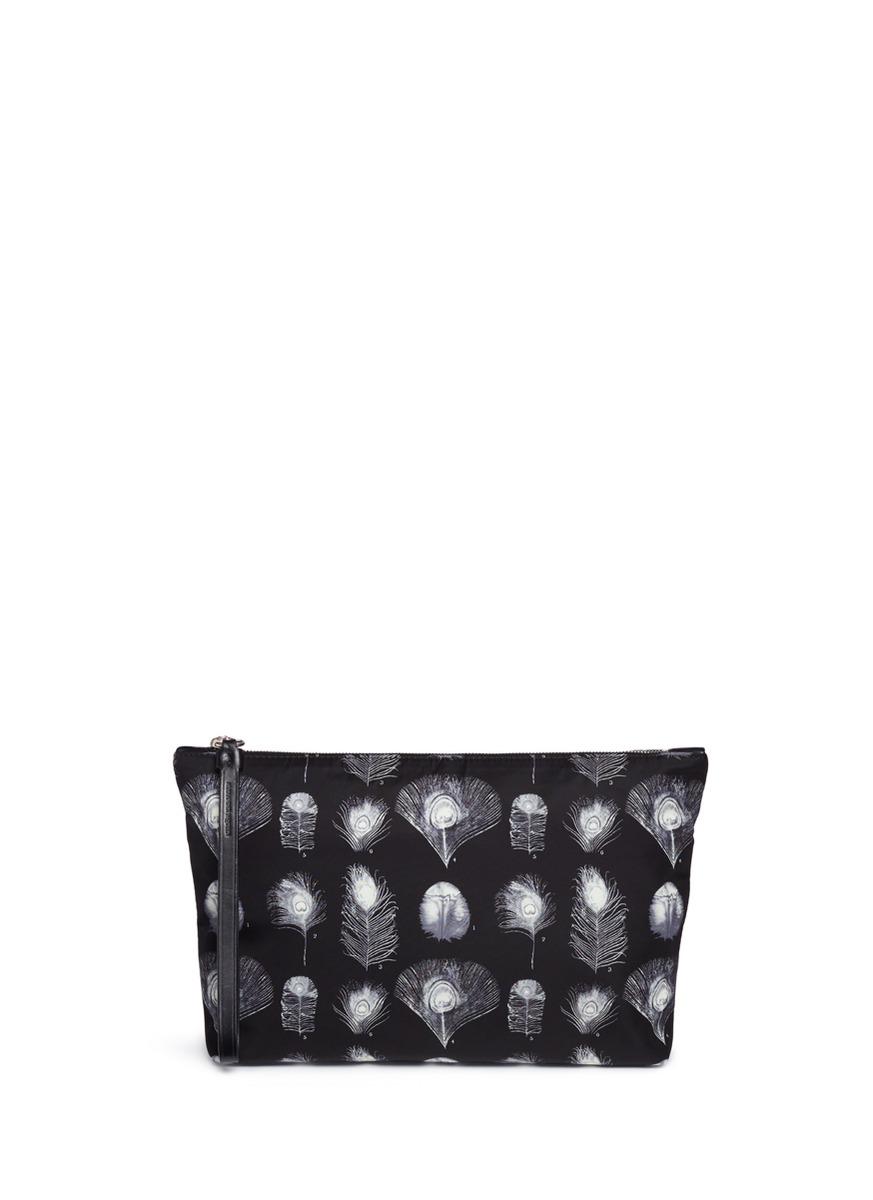 ALEXANDER MCQUEEN Feather Print Nylon Zip Pouch in Black