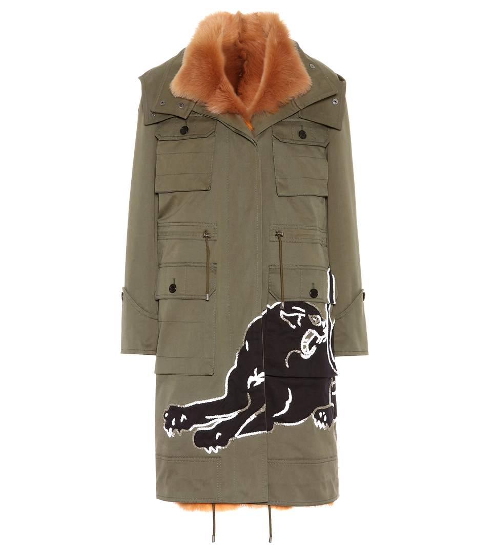 panther patch hooded jacket