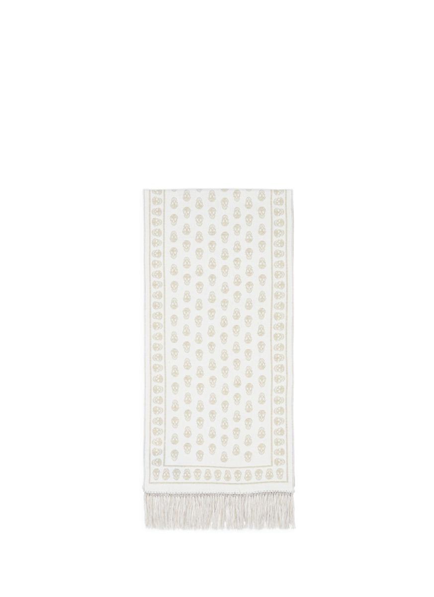 'Upside Down Skull' jacquard wool silk scarf