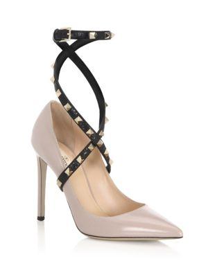 Studwrap Leather Ankle-Strap Pumps