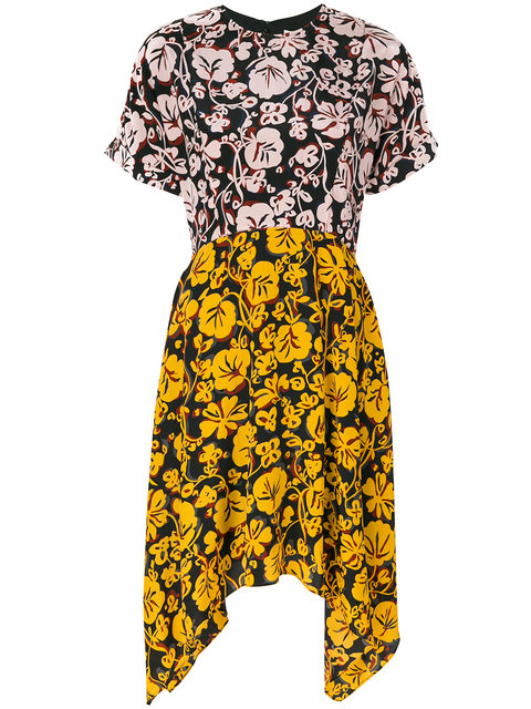 Floral-Print Asymmetric Silk-Crepe Dress