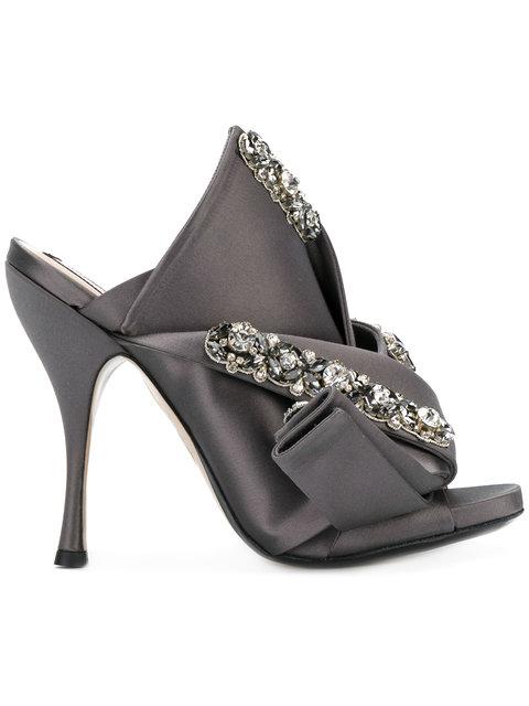 Ronny 110 crystal-embellished satin sandals