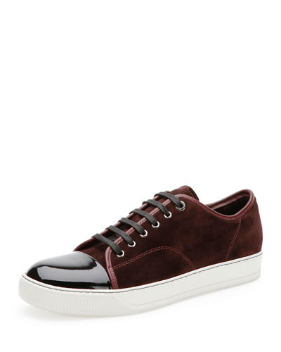 LANVIN SUEDE & PATENT LEATHER LOW-TOP SNEAKER, BURGUNDY