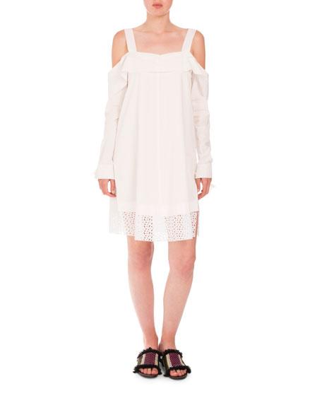Proenza Schouler Cottons COLD-SHOULDER EYELET-HEM DRESS, WHITE