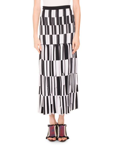 Proenza Schouler Pleated skirts PLEATED JACQUARD MAXI SKIRT, BLACK/WHITE