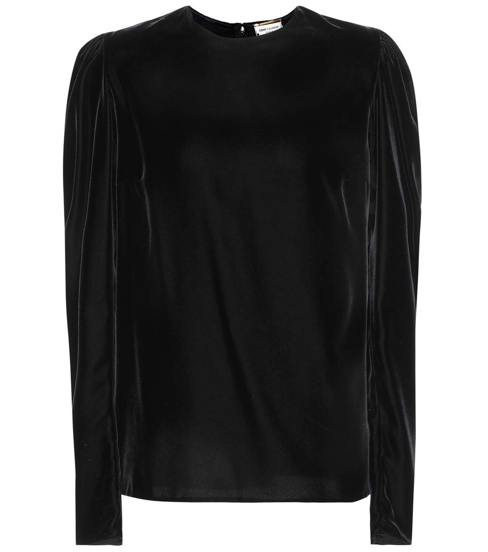 PUFF-SLEEVED VELVET TOP