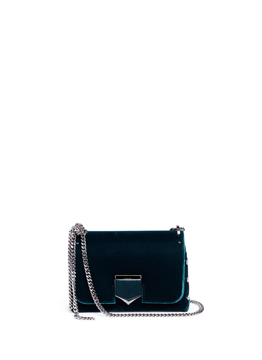 'Lockett Petite' stud velvet crossbody bag