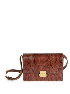 MEDIUM BELLECHASSE GENUINE PYTHON SHOULDER BAG - BROWN