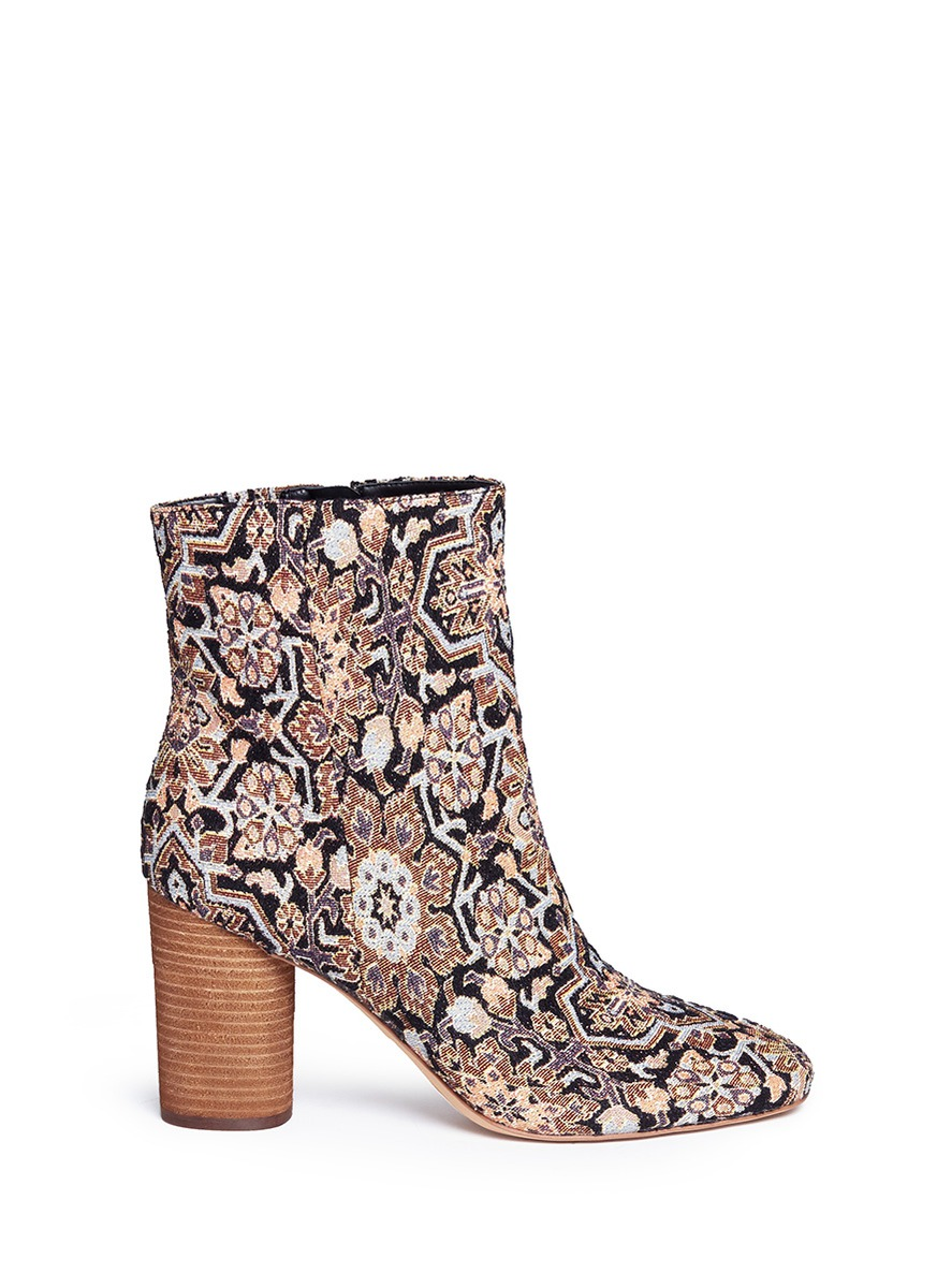 'Corra' cylindrical heel tapestry boots