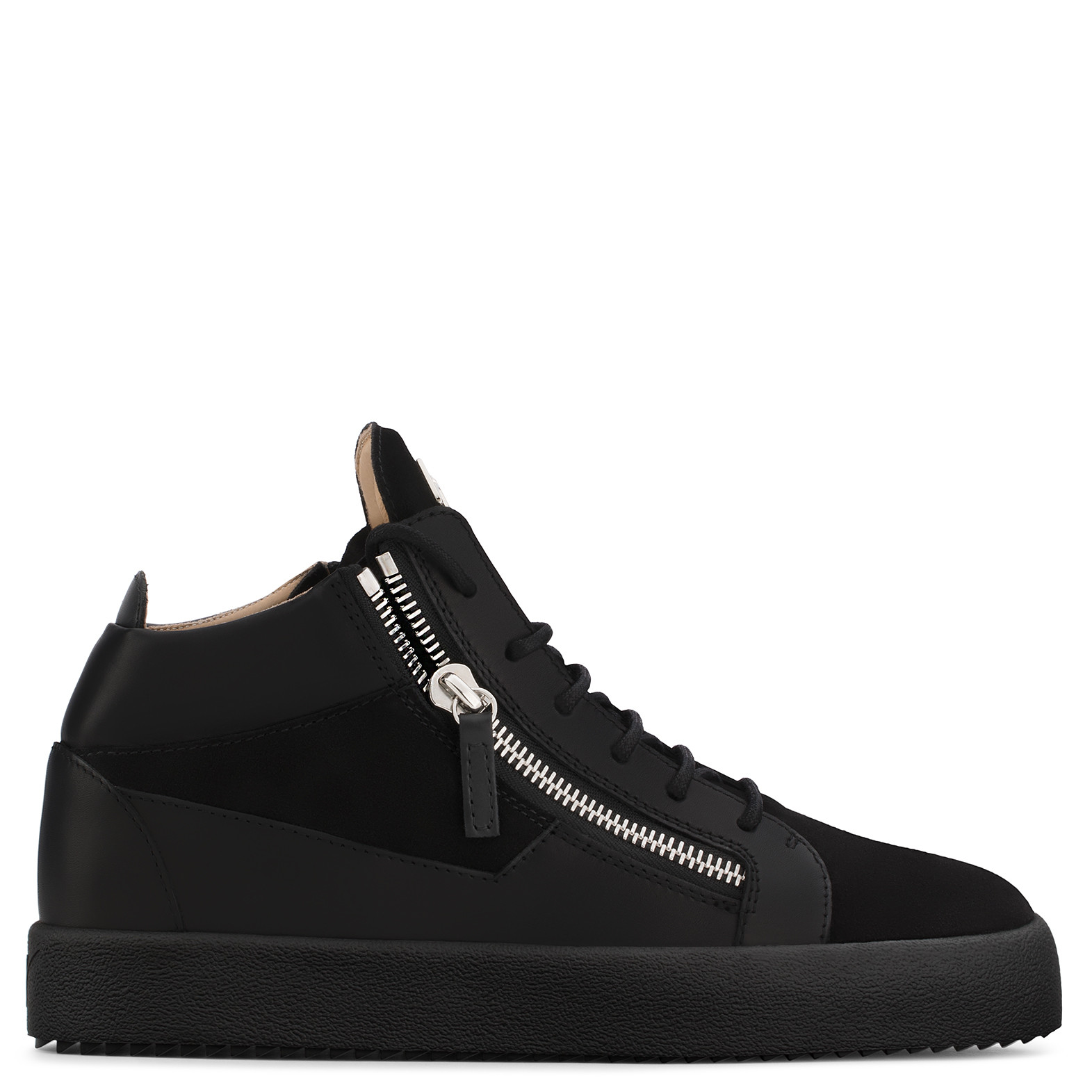 Giuseppe ZanottiBlack and white calfskin leather mid-top sneaker KRISS TvoilnZm