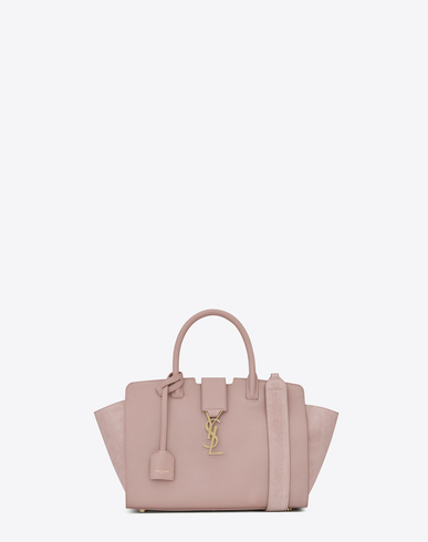 BABY DOWNTOWN LEATHER AND SUEDE CABAS BAG IN POWDER PINK
